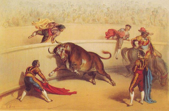 """Litografía titulada """"Suerte  de capa"""", de Gustave Doré,  de la serie <em>Corrida de toros</em>"""