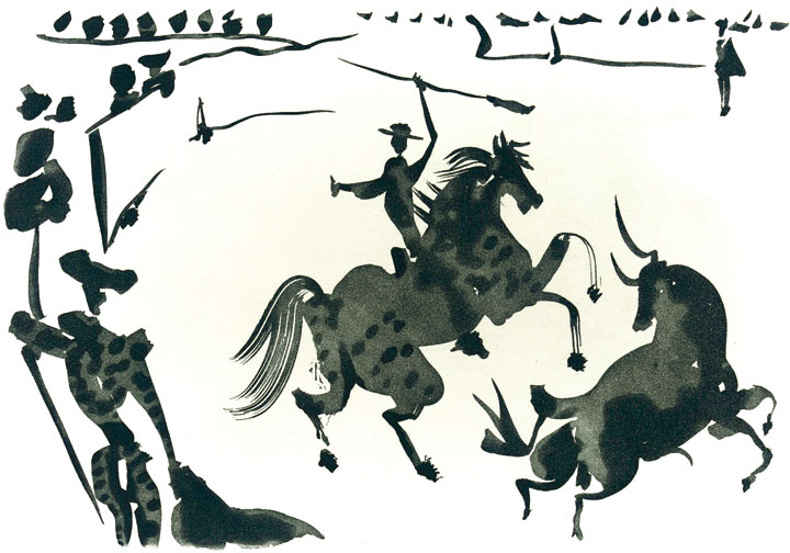 Aguatinta de la serie <em>La Tauromaquia,</em> de Pablo Picasso, publicado en 1961 en el libro-álbum <em>Toros y toreros</em> con textos de Luis Miguel Dominguín