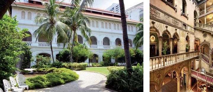 Jardines del hotel Raffles de Singapur y escalera del Danieli veneciano