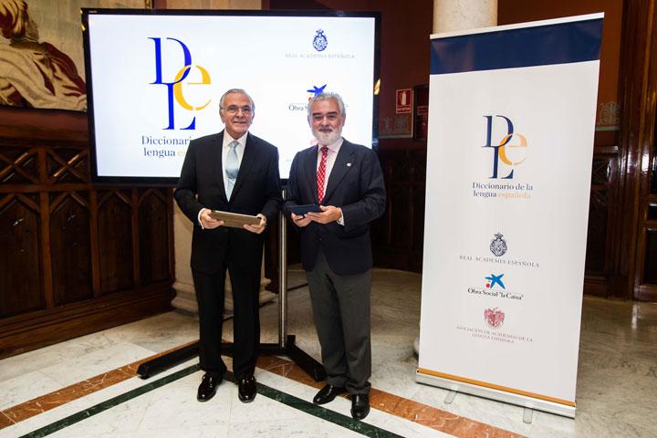 El presidente de la Obra Social 'la Caixa', Isidre Fainé, y el director de la RAE , Darío Villanueva