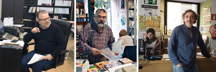 Los libreros Antonio Méndez, Santiago Palacios y Jesús Trueba. © Ricardo Martín