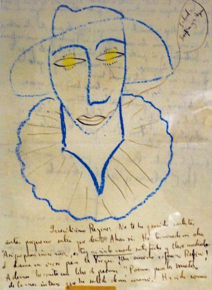 Cabeza de Pierrot, 1931. Tinta y lápices de color. 22,5 x 16,5 cm. © Fundación Federico García Lorca