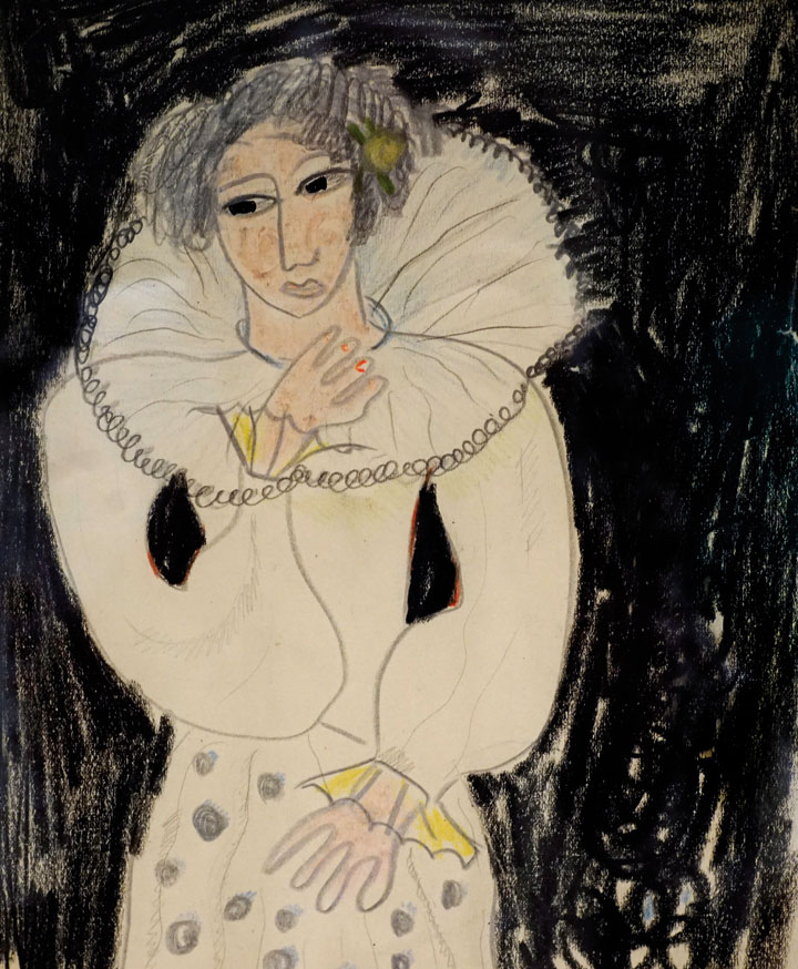 Muchacha con gola sobre fondo negro, ca. 1924. Lápiz y lápices de color sobre papel. 25 x 20 cm. © Fundación Federico García Lorca