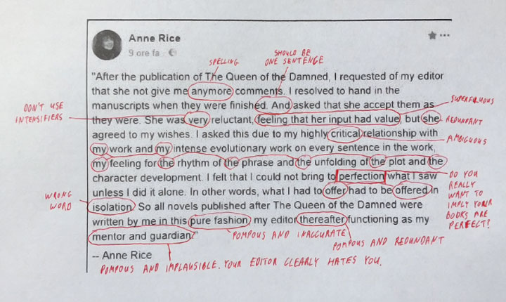 Anne Rice y la importancia de corregir un texto.