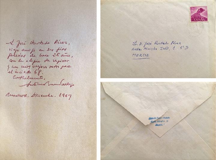 Dedicatoria de Buero Vallejo a José Hurtado. A la derecha, recto y verso del sobre de la carta.
