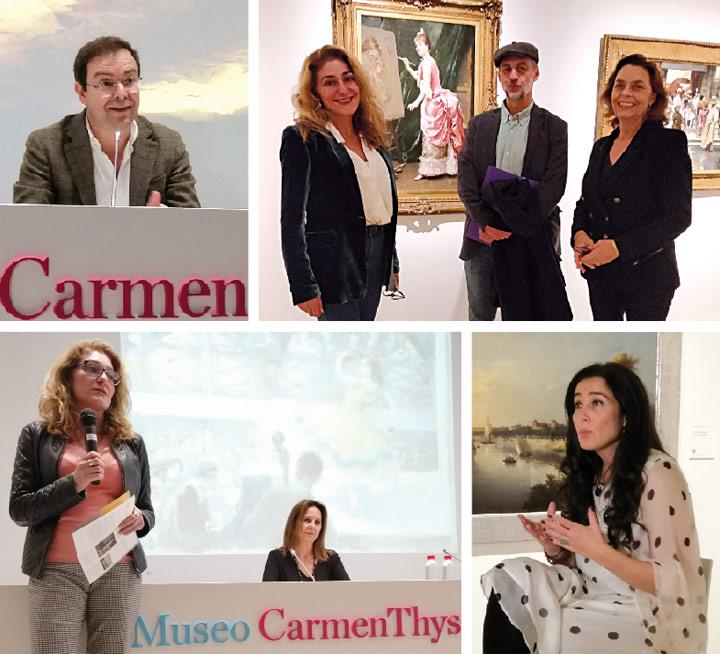 De izquierda a derecha y de arriba abajo: Javier Sierra; Antonio Orejudo con Lourdes Moreno, directora artística del Museo Carmen Thyssen Málaga, y Ana Gavín, directora de la Fundación Lara; presentación de María Dueñas; y Cristina López Barrio.